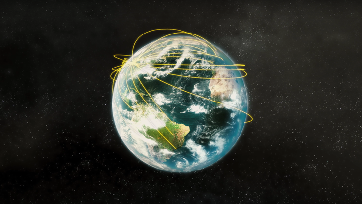 Photo realistic image of Earth with yellow lines moving around the world