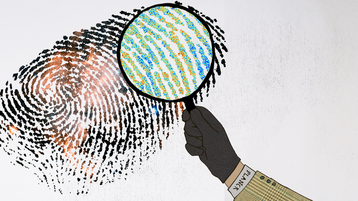 Illustration of Detective Planck using magnifying glass over finger print