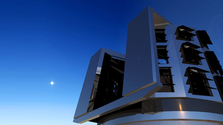A rendering of the Large Synoptic Survey Telescope's dome