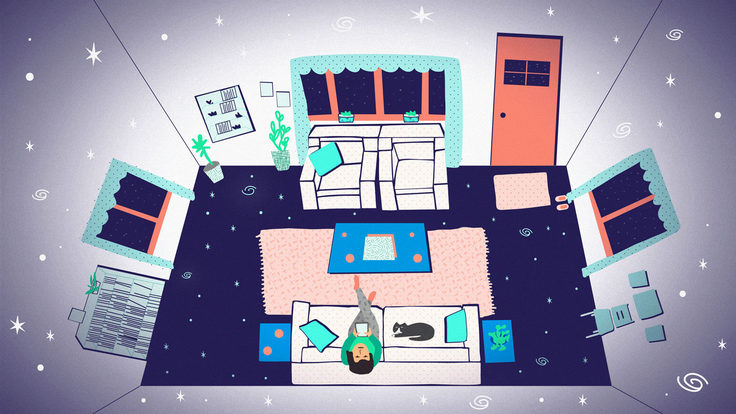 Illustration of arial view of living room with stars and galaxies on ceiling