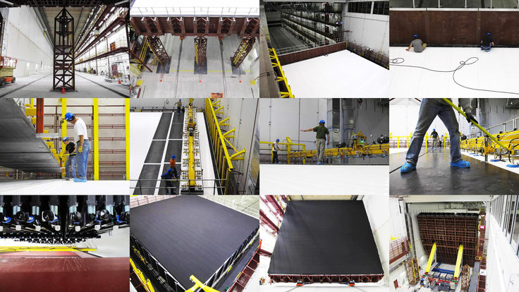 Photo collage of NOvA construction images