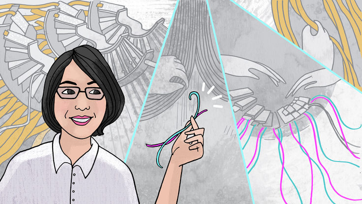 Illustration of Francesca Ricci-Tam holding wires with detector equipment in background