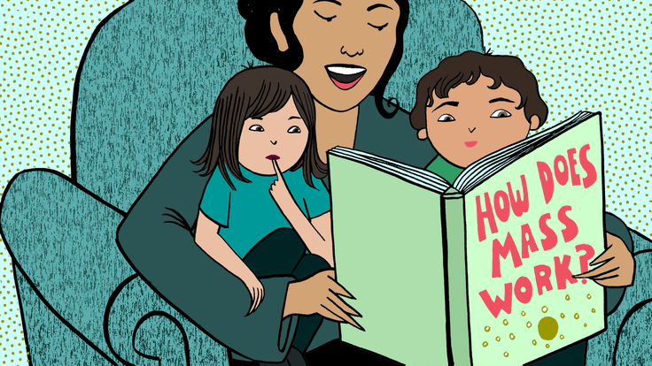 "Illustration of mom reading two her two kids sitting on chair book says ""where does mass come from?"""