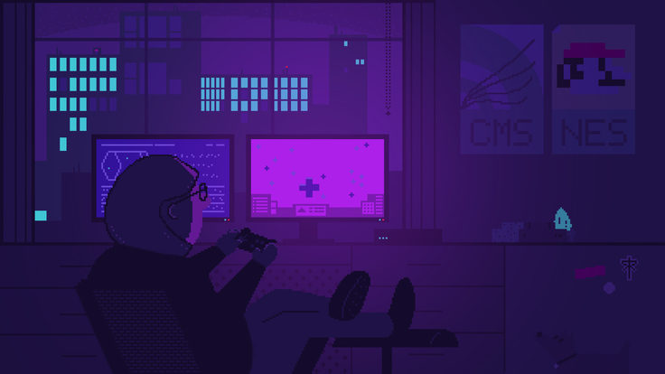 Illustration in 8-bit style showing a scientist playing a video game in a darkened room