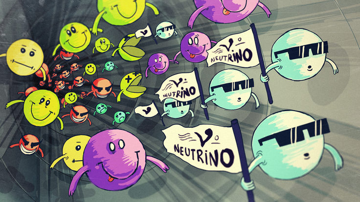 Illustration of neutrinos and other particles moving down tube