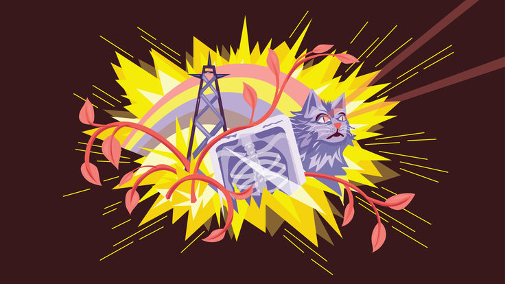 Illustration of yellow explosion with cat, electricity tower, scan, and branches