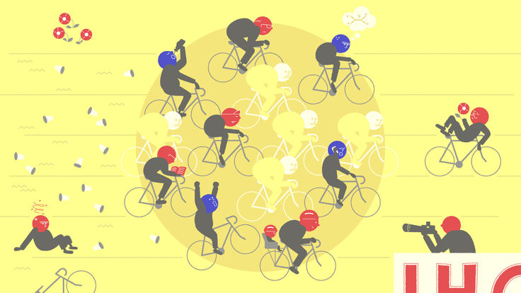 An illustration of humanoid particles riding bicycles