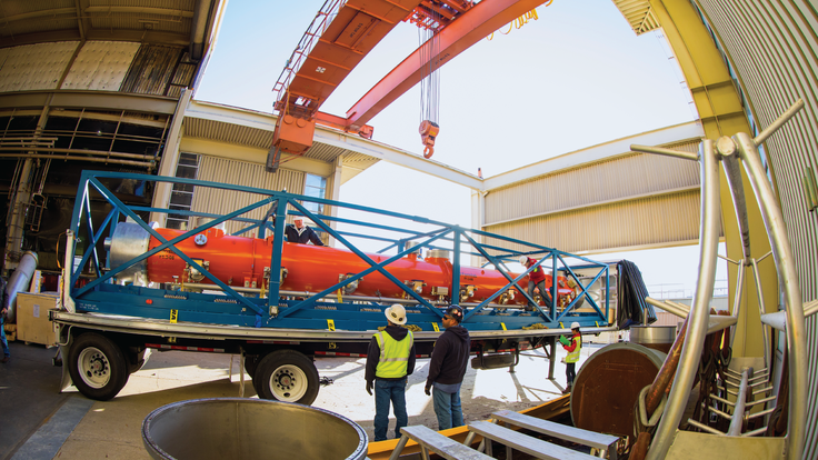 he first cryomodule for LCLS-II arrived at SLAC on January 19, 2018.