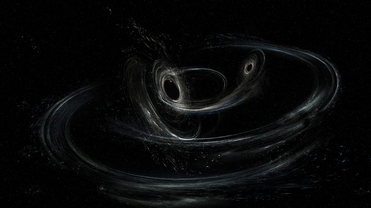 Artist's conception shows two merging black holes similar to those detected by LIGO