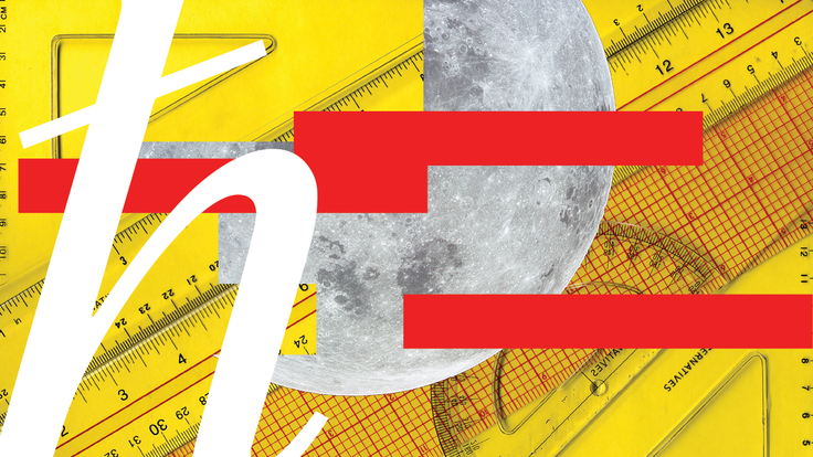 Image of yellow ruler background with moon and red and Plank graphics