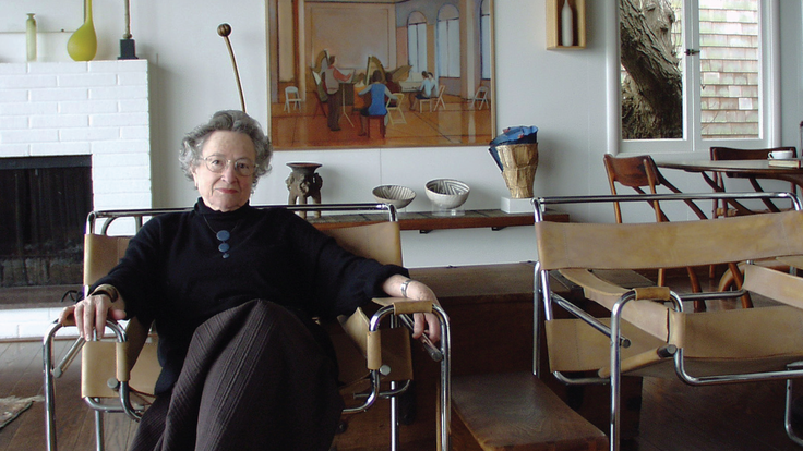 Photograph of June Schwarcz at home