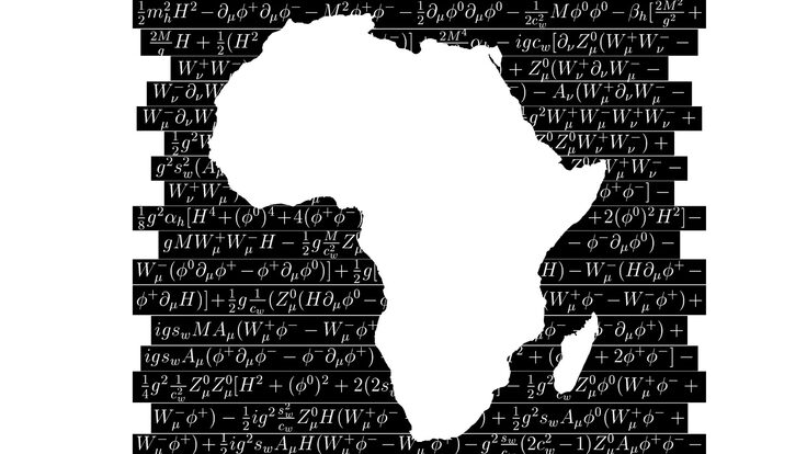 Illustration of the African continent surrounded by equations