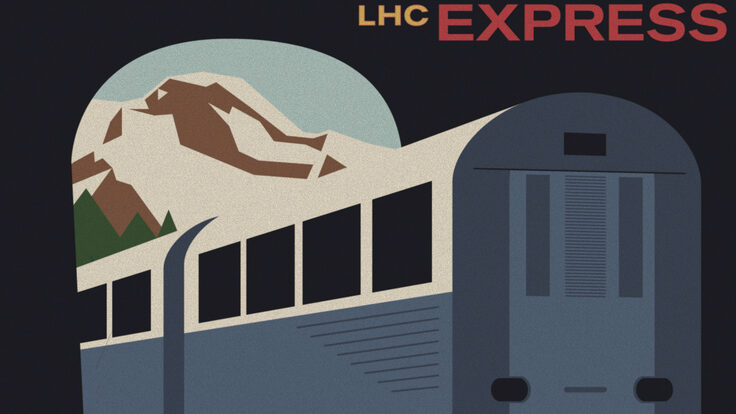 """LHC Express"" illustration of a train that looks like a vintage postcard"