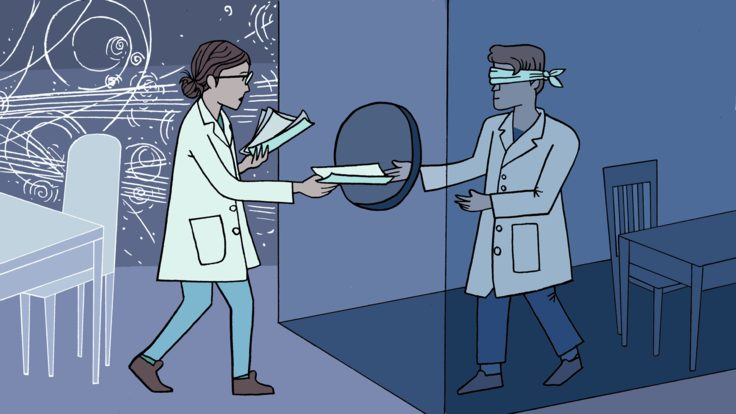 Illustration of a scientist handing papers to another, blindfolded scientist through hole in glass door