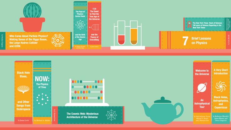 Illustration of physics books on shelf