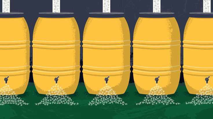 Illustration of rain barrels collecting particles