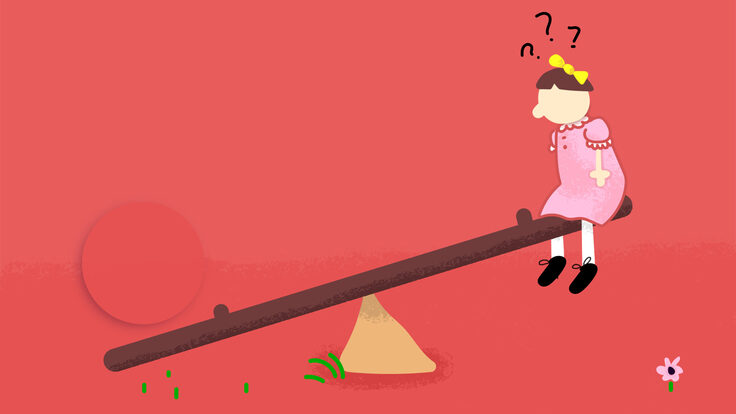 Illustration: a kid is stuck on the top of a teeter-totter with a mysterious object holding the other side