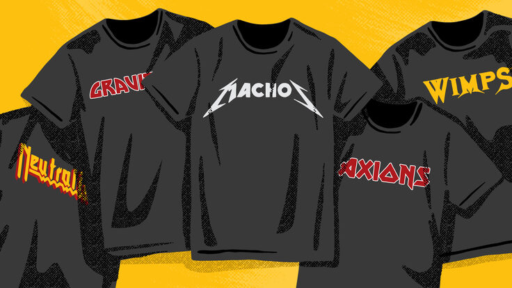 Illustration of band t-shirts of dark matter candidates