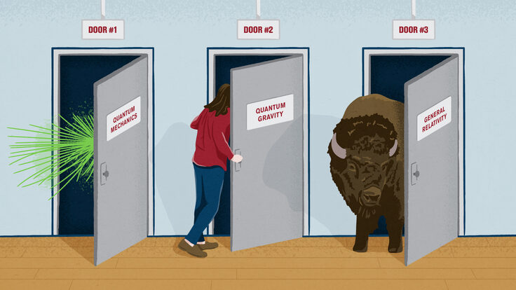 Illustration of person looking behind doors labeled with scientific concepts