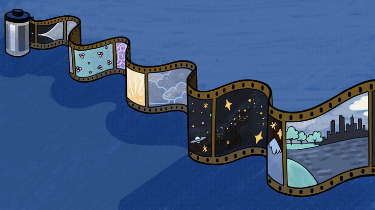 An illustration of a filmstrip cotaining images representing stages of the early universe