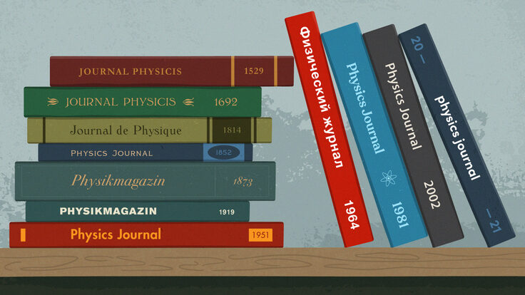 Illustration of physics journals in many languages