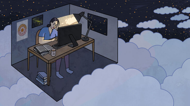 Illustration emphasizing feelings of isolation or loneliness while struggling with mental health issues