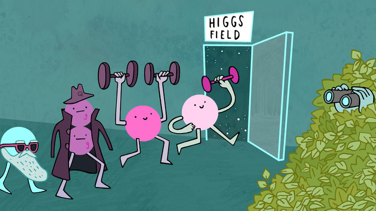 Illustration of particles sneaking into Higgs field, scientists watch with binoculars from bushes (green, pink, teal, cyan)
