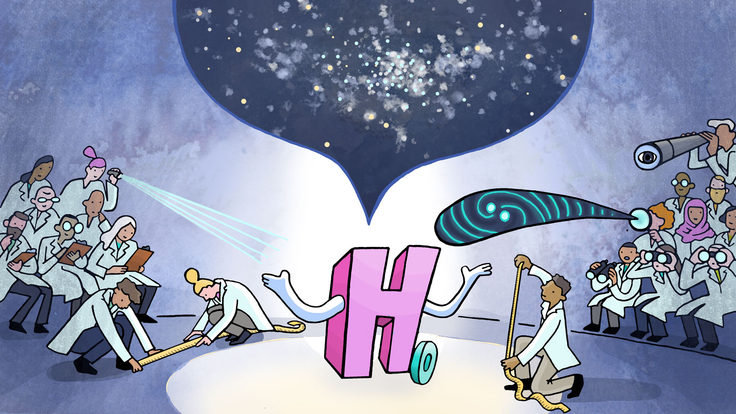 An illustration of scientists observing the Hubble constant