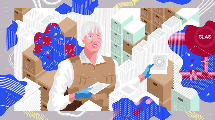 "Illustration of Jean Deken holding abstract ""strings"" of timelines, file boxes, stacks of paper(pink, white, tan, blue, magenta)"
