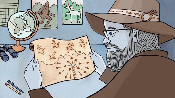Scientist looking at map for the truest north