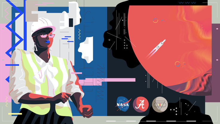 Illustration of Renee Horton, NASA, planet, spaceship (red, black, blue, purple, grey, white, purple)