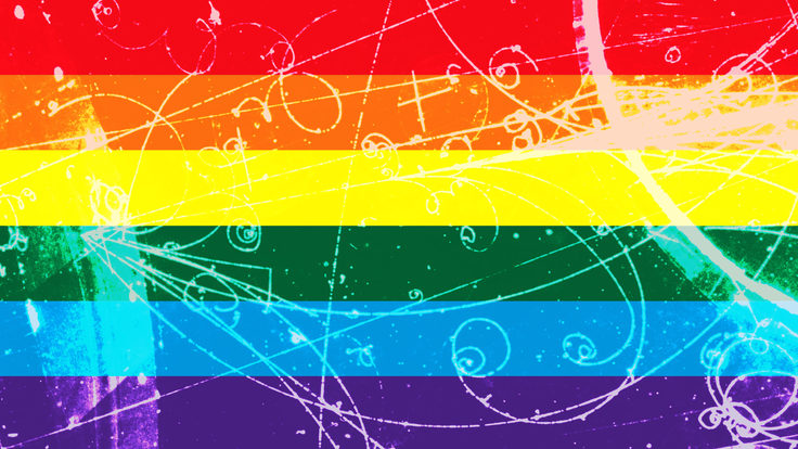 Illustration of rainbow flag with particle tracks