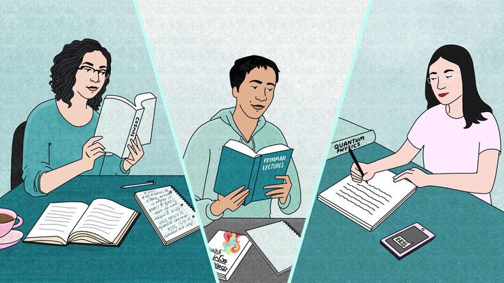 Illustration of scientists studying books written in English
