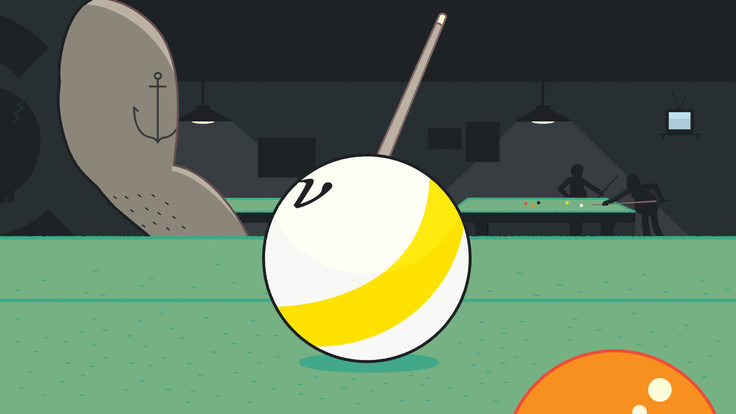 Billiard ball with nu symbol on it sits of pool table