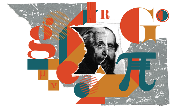 Collage of Einstein and Reimann's faces on ripped paper in a geometric field of color, pattern, and shape (teal, mustard, rust)