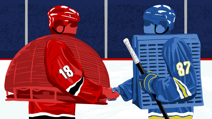 Illustration: Wilson Hall and the CERN globe building are hockey players shaking hands