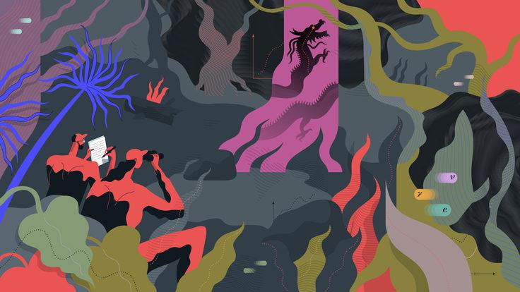 Una ilustración que muestra a los científicos que buscan un descubrimiento.