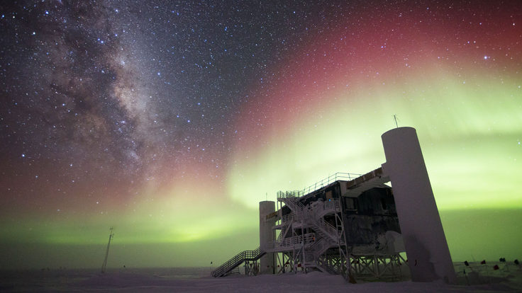 Photo of green and red aurora lights in sky