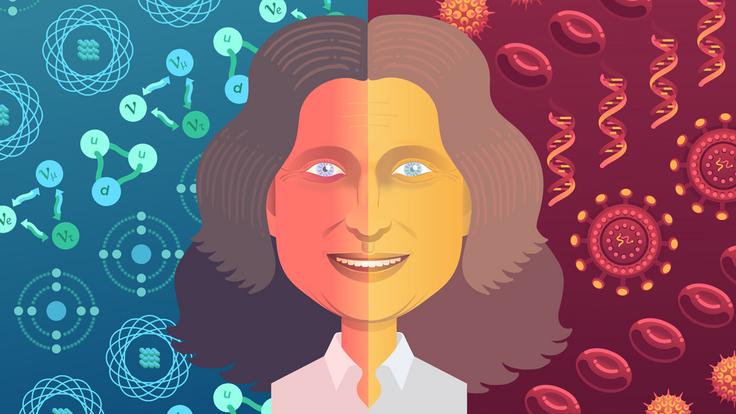 Illustration of Judy Lieberman, split screen blue and red