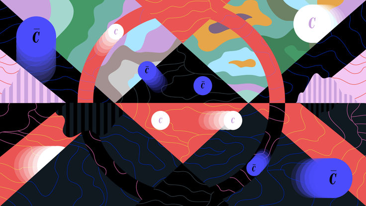 Illustration representing matter and antimatter particles