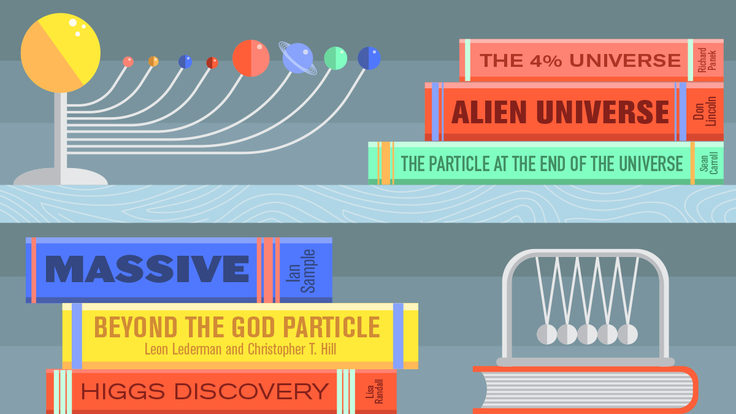 Illustration of bookcase Matter of Energy: HiggsBooks