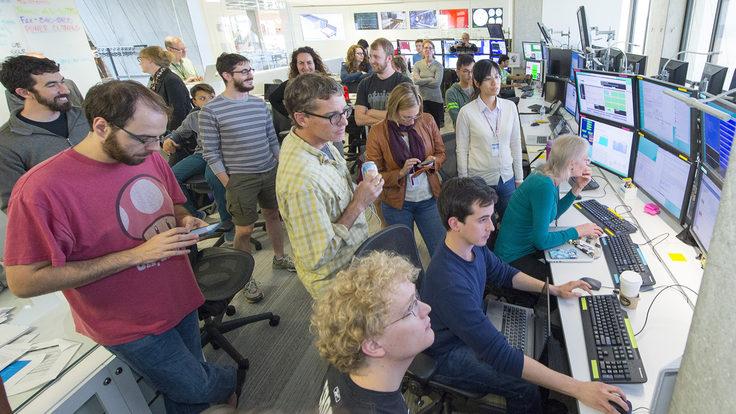 Photo of MicroBooNE control room first neutrinos