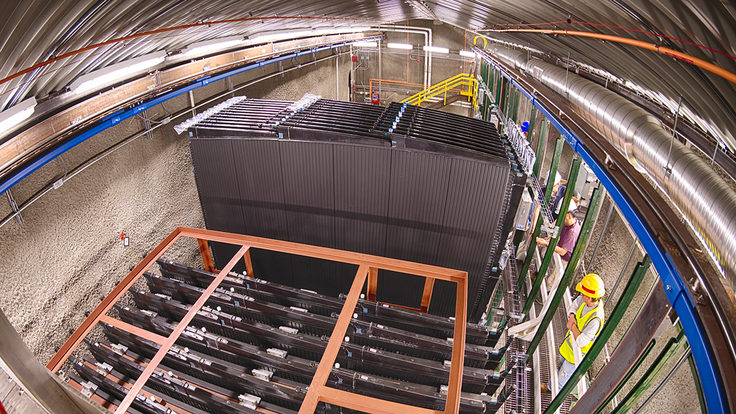 A NOvA near detector block in its new home 350 feet underground