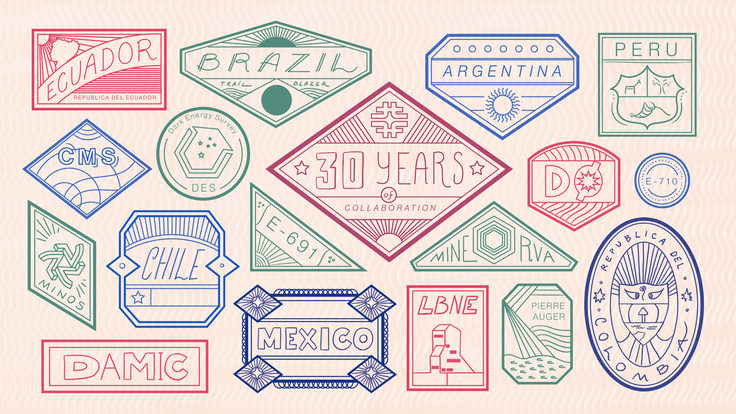 "Illustration of 30 years collaboration with countries ""Brazil, Argentina, Ecuador, Chile, Mexico, Peru"" and detectors"