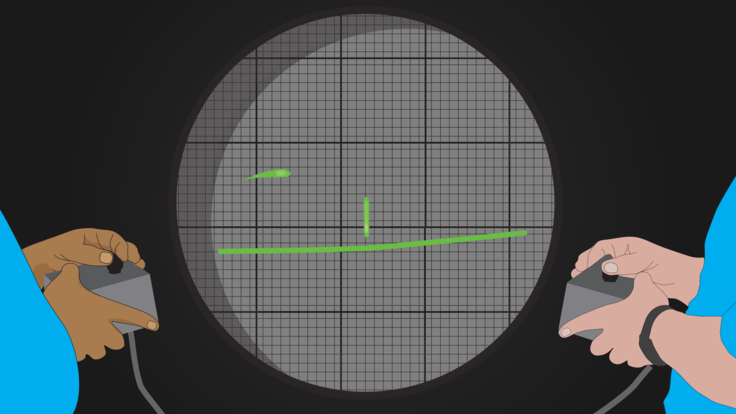 Illustration of two people playing with controllers on circular grid screen almost like pong