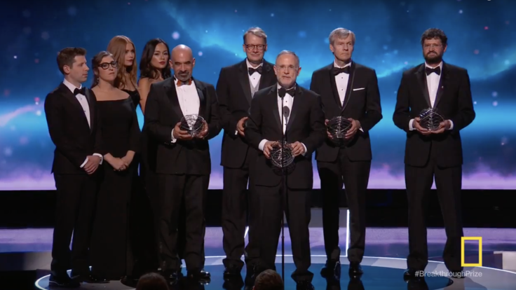 Winners of the Breakthrough Prize accept awards onstage.