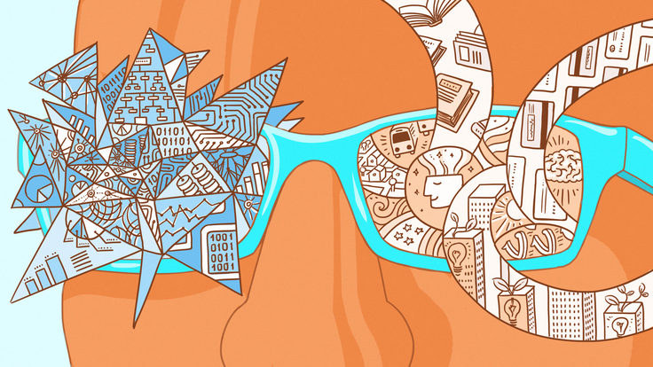 Illustration of persons face with glasses that have illustrations popping out: Statistically significant
