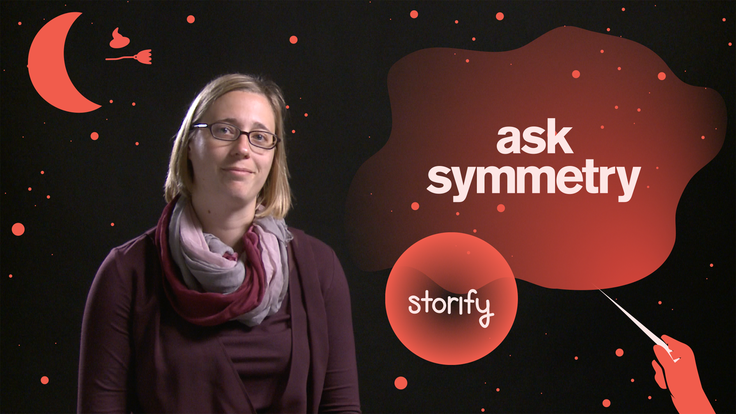 "Scientist Anne Schukraft surrounded by Harry Potter-inspired imagery and the phrase ""Ask Symmetry Storify"""