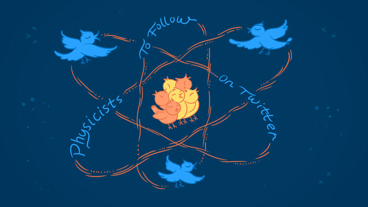 """Illustration of twitter birds moving in atom movement that says """"Physicists To Follow On Twitter"""""""