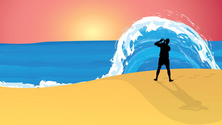 Illustration of  Wave-particle duality, person on beach under wave